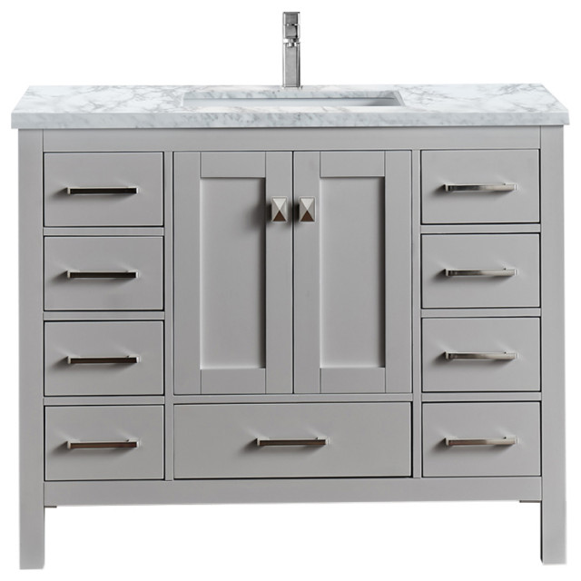 Eviva Hampton 36 X 18 Inch Gray Transitional Bathroom Vanity With White Carrara Transitional Bathroom Vanities And Sink Consoles By Homesquare Houzz