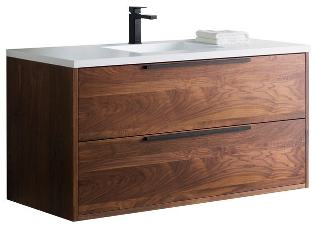 Vanity Alfred 49 With Integrated Solid Surface Counter Top Modern Bathroom Vanities And Sink Consoles By Bathroom Place Houzz