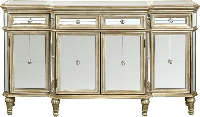 3 Drawer 4 Door Credenza Traditional Buffets And