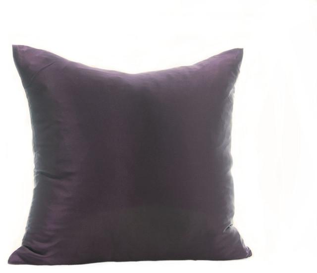 "100% Silk Charmeuse Plum Pillow, Purple, 22""x22"""