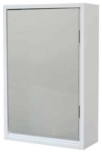 Miami Wall Mounted Mirrored Medicine Cabinet White 1 Door, 1 Shelf.