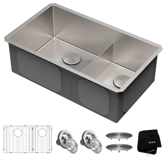 32' Undermount Stainless Steel Kitchen Sink, Double 60/40 Bowl 16 Gauge
