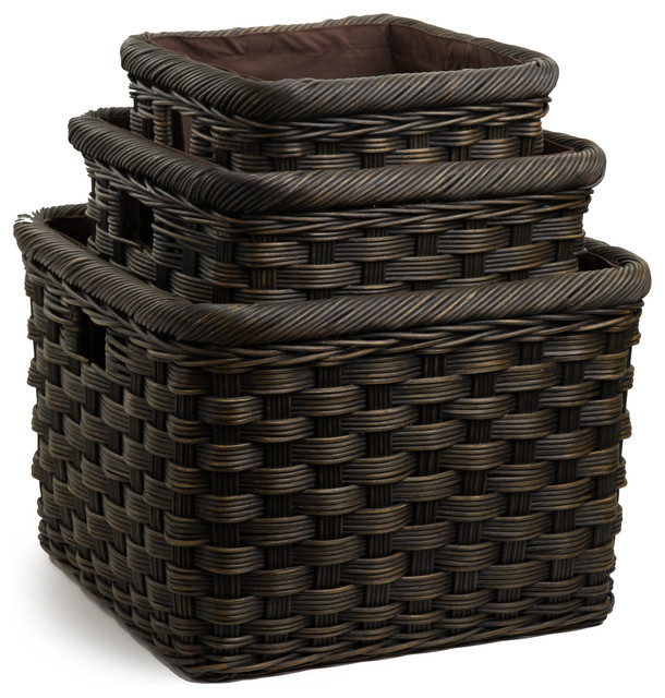 Heavy Square Wicker Storage Basket Baskets By The