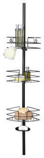 HomeZone 3 Tier Adjustable Wire Corner Shelf Extension Pole Caddy, Oil-Rubbed Br
