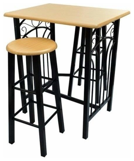 Contemporary 3 Piece Bar Set Metal Frame And Mdf Dining Table Stools Tail Shakers Sets By Decor Love