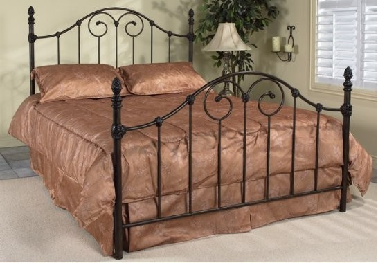 vanessa queen antique brown wrought iron bed frame traditional beds - Antique Queen Bed Frame