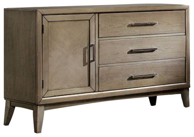 Urbane Contemporary Style Wooden Dresser, Gray.