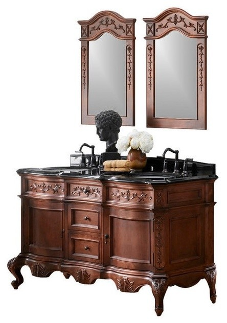 Ronbow Bordeaux Solid Wood 60  Double Vanity Set With Sink Mirror Wall Cabinet