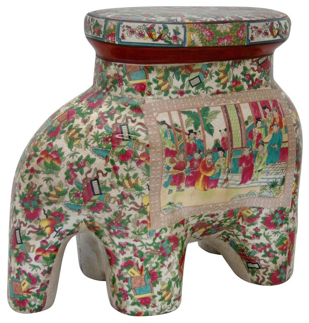 14  Rose Medallion Porcelain Elephant Stool traditional-footstools-and-ottomans  sc 1 st  Houzz & 14