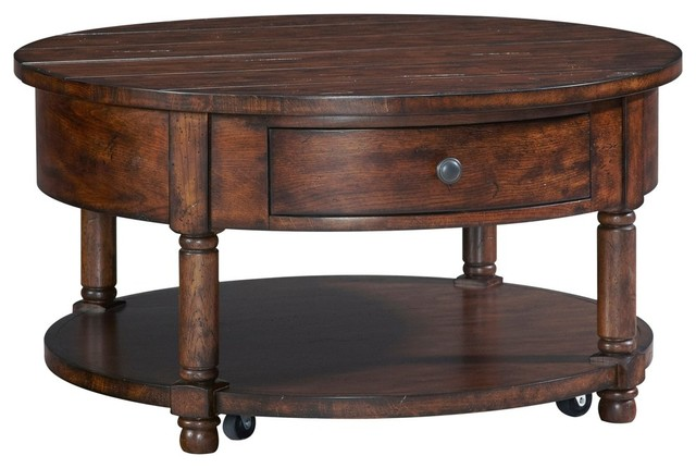 Bon Broyhill Attic Rustic Oak Round Lift Top Cocktail Table