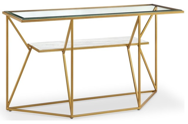 Magnussen Dixon Rectangular Sofa Table In Gold Leaf/White Marble  Transitional Console Tables
