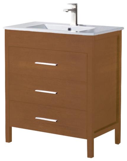 Bathroom Vanity Morris 30 With Porcelain Sink Top Chestnut