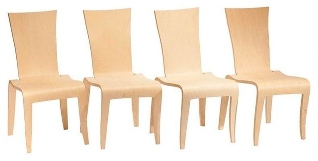 Chairish Mid-Century Bent Plywood Birch Chairs - Set of  - Dining