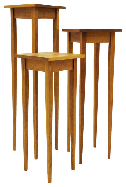 Superb Uma Tall Table Trio, Cherry, 12x12x30 Coffee Tables