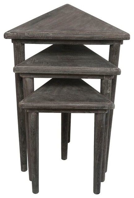 Triangle Sanderson Nesting Tables, Large Rustic Side Tables And End
