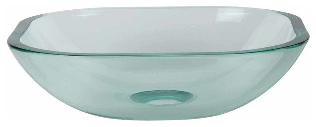 Bathroom Sinks Glass tempered glass vessel sink with drain, clear square mini bowl sink