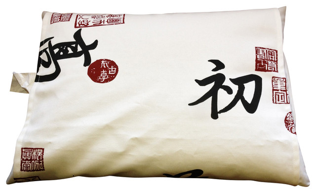 Iliving Organic Buckwheat Pillow, Authentic Japanese Cover, Kanji White.
