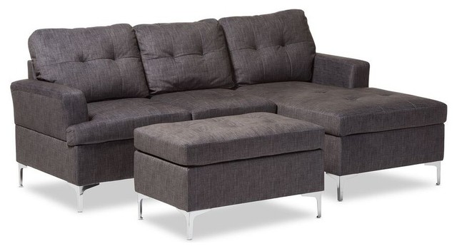 Baxton Studio Riley Upholstered 3-Piece Sectional, Gray.