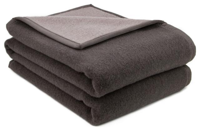 Phoenix Wool Blend Reversible Blanket, Dark Grey, Large