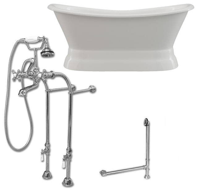 Cast Iron Double Ended Slipper Tub 71x30 No Drillings PC Package by Cambridge Plumbing