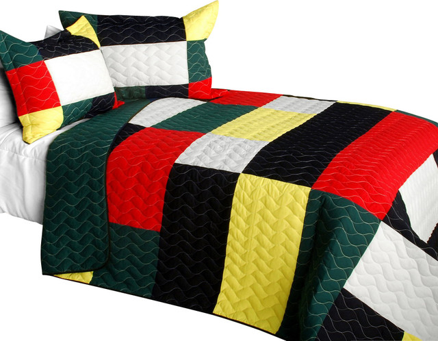 Delicate Plaid - B Vermicelli-Quilted Patchwork Plaid Quilt Set Full//Queen