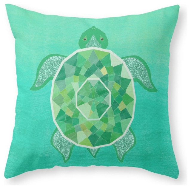 Turtle, Emerald Throw Pillow - Beach Style - Decorative Pillows - by Society6