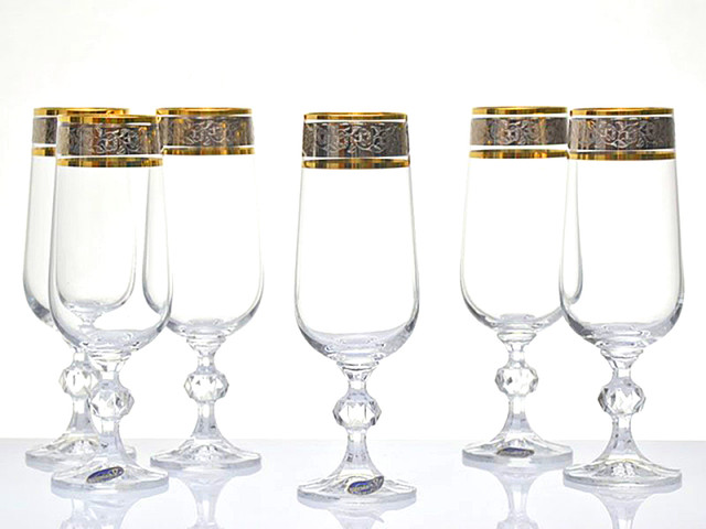 Bohemia Crystal Claudia Gold Rim Champagne Flutes Set Of 6 Traditional Wine Glasses By Wineohh