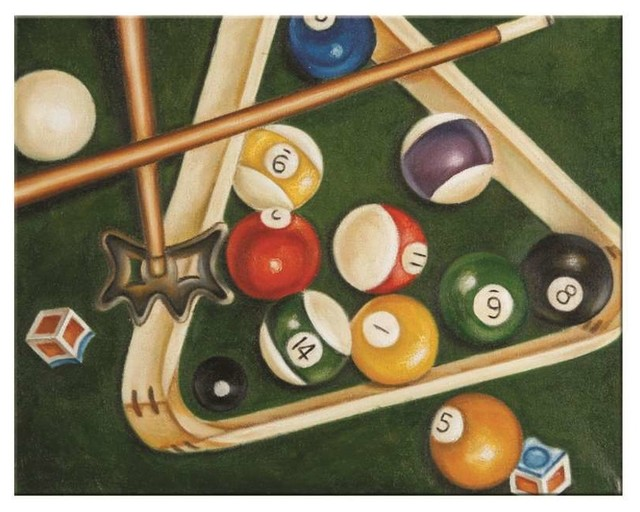Game Room Wall Art ram gameroom rack & balls oil painting - traditional - game room