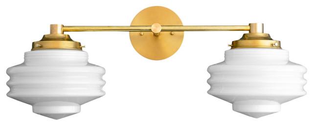 Art Deco Brass Vanity Light Streamline Modern Vanity Fixtures Model No 9479 Transitional Bathroom Vanity Lighting By Peared Creation Houzz
