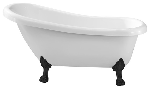 "Streamline Soaking Clawfoot 61"" Tub In White With Internal Drain Set."