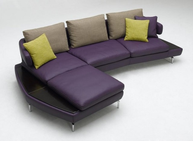 Modern Purple Violet Leather Sectional Sofa Modern