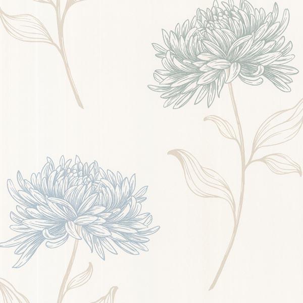 Dehlia Blue Floral Toss Wallpaper Bolt.
