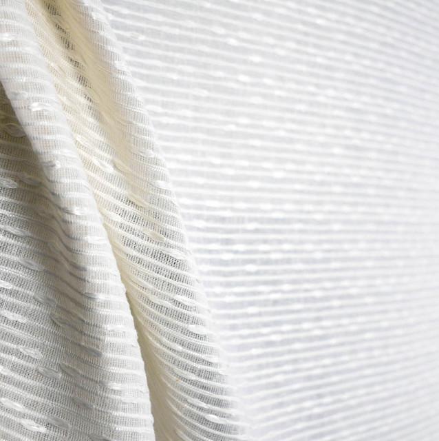 White Semi Sheer Curtain Fabric Rickon Alabaster Swavelle
