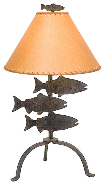 Table lamp 26 fish rustic table lamps by steel partners inc table lamp 26 fish aloadofball Image collections