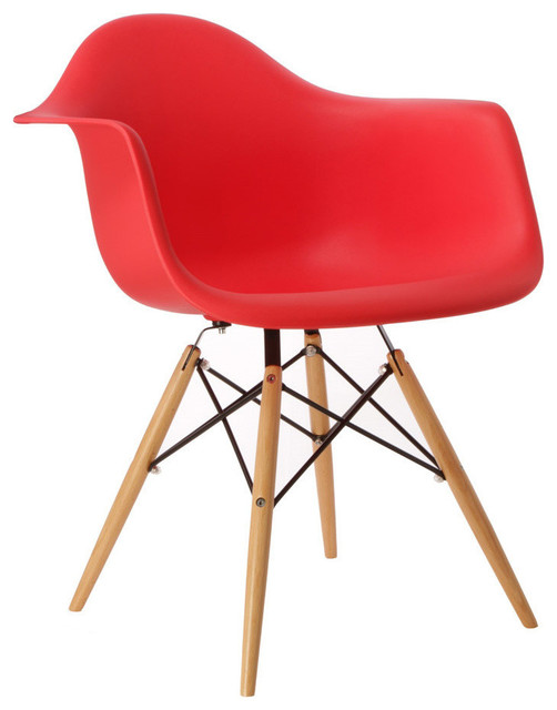 Stupendous Daw Red Mid Century Modern Plastic Dining Armchair Wood Eiffel Legs Cjindustries Chair Design For Home Cjindustriesco