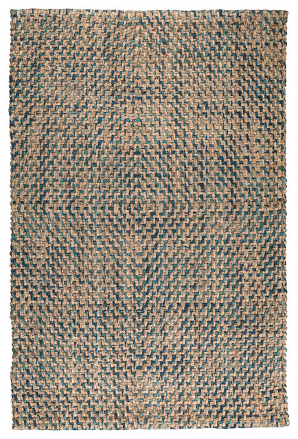Kosas Home Sherwood Diamond Area Rug, Navy / Turquoise, 2&x27;x3&x27;.