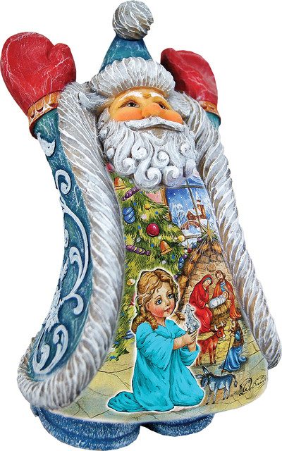 Hand Painted Christmas Night Greeting&x27;s Santa Figurine.