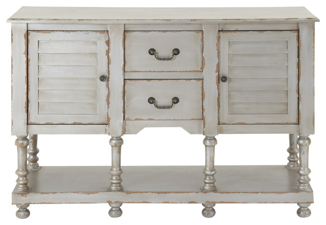Distressed Finish Vintage-Style White Console Cabinet ...