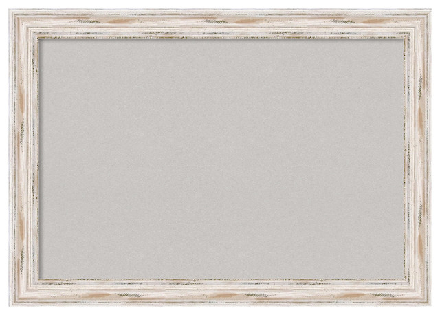 "Framed Gray Cork Board Extra Large, Alexandria White Wash, Outer Size 41x29"". -1"