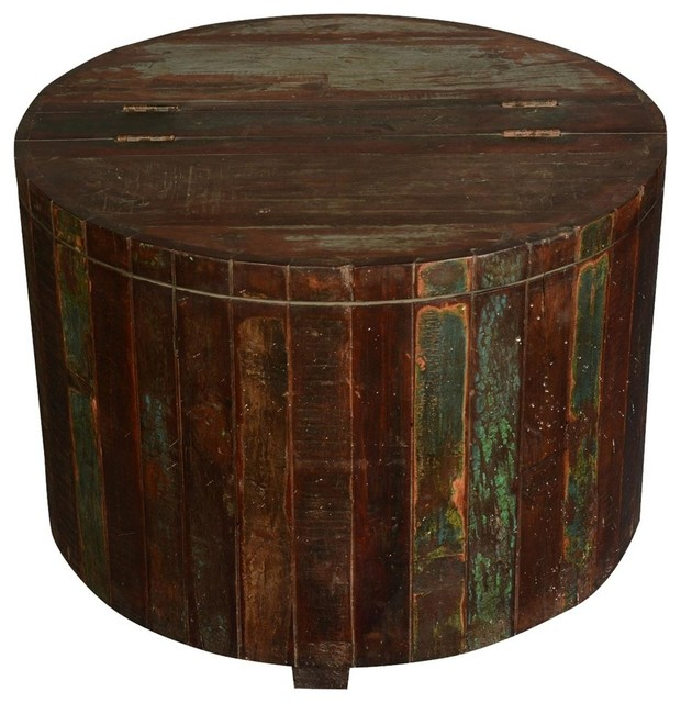 Appalachian Rustic Reclaimed Wood Round Barrel Chest Accent End Table