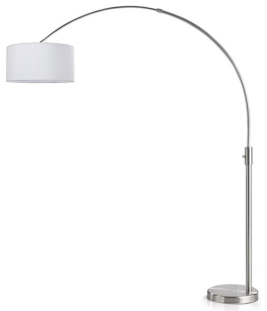 Orbita Arch Floor Lamp, Dimmer, 12w Dimmable Led Bulb Included, Drum Shade, Whit.