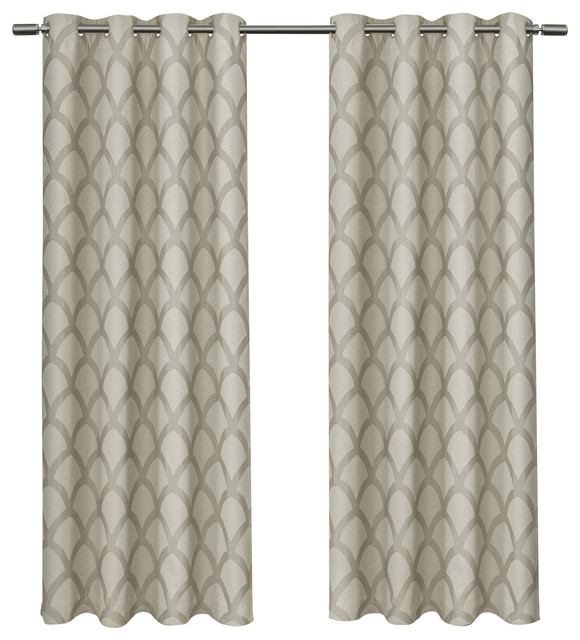 Electra Jacquard W/ Blackout Liner Grommet Curtains, Taupe, 54x96, Set Of 2.