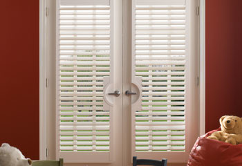 Faux Wood French Door Shutters - Contemporary - Window Blinds ...