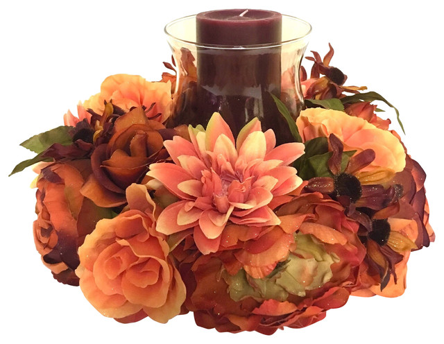 """18"""" Peony, Rose, And Zinnia Candle Fall Arrangement With Candle, Orange."""