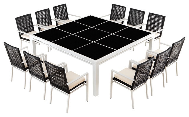 Outdoor reco 12 seat dining set modern outdoor dining for Outdoor dining sets for 12