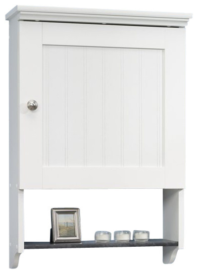 Lovely Sauder Caraway Wall Cabinet In Soft White  Beach Style Storage And Organization
