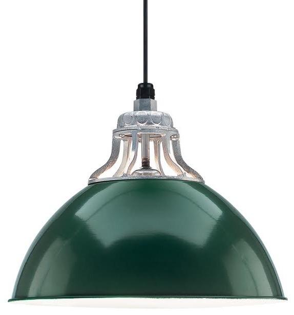 Warehouse Pendant, Dark Green/galvanized.