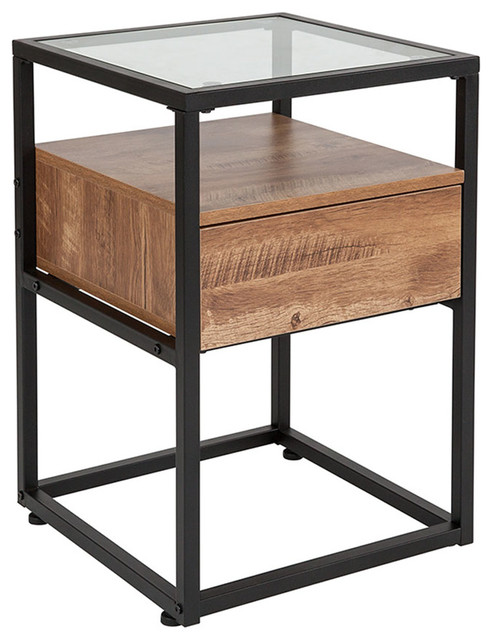 Offex Contemporary Rectangular Top Glass End Table With Drawer And Shelf,  Black