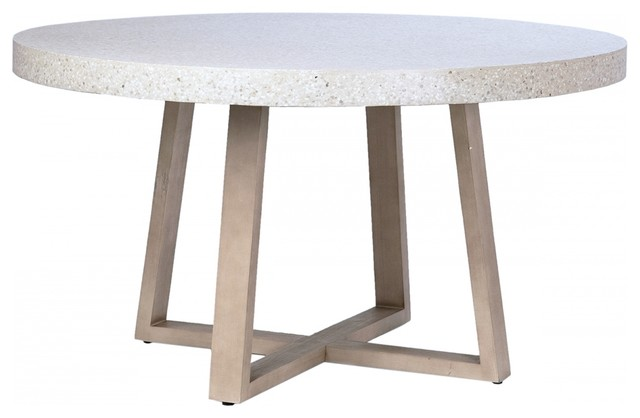 Emma Dining Table White Stone Top Round