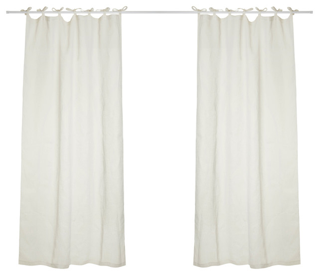 Hilary Linen Curtains With Tie Top, Off White Transitional Curtains
